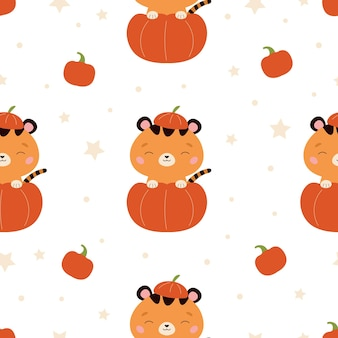Halloween seamless pattern with tiger in pumpkin on white background