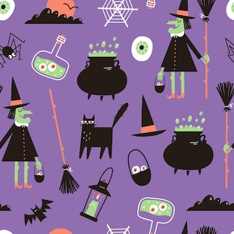 Halloween seamless pattern with witch black cat magic cauldron and potion