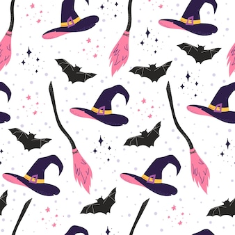 Halloween seamless pattern with witch's hat