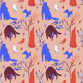 オオカミのカラスと植物とハロウィーンのシームレスなパターン