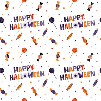 Halloween seamless pattern with wrapped candies, lollipops and words-happy halloween. white background.