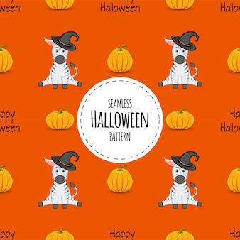 Halloween seamless pattern with zebras. cartoon style.