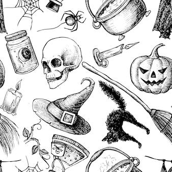 ハロウィンのシームレスなパターン