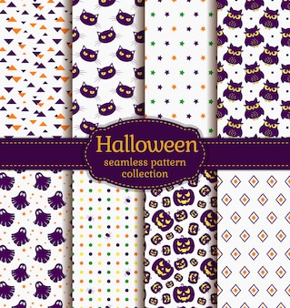 Halloween seamless patterns.  set.