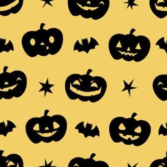Хэллоуин бесшовные модели с тыквами, звездами и летучими мышами идеально подходят для украшения оберточной бумаги gree ...