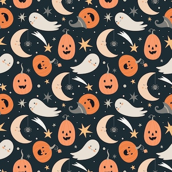 Halloween seamless vector pattern with cute halloween characters and symbols - ghost, pumpkin, moon, stars.