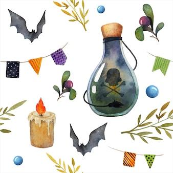 Хэллоуин бесшовный акварельный рисунок