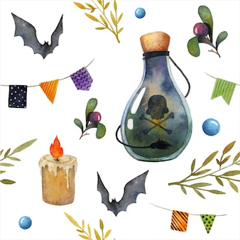 Halloween seamless watercolor pattern