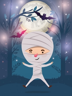 Halloween season scene with boy costume mummy