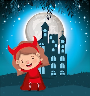 Halloween season scene with girl costume devil