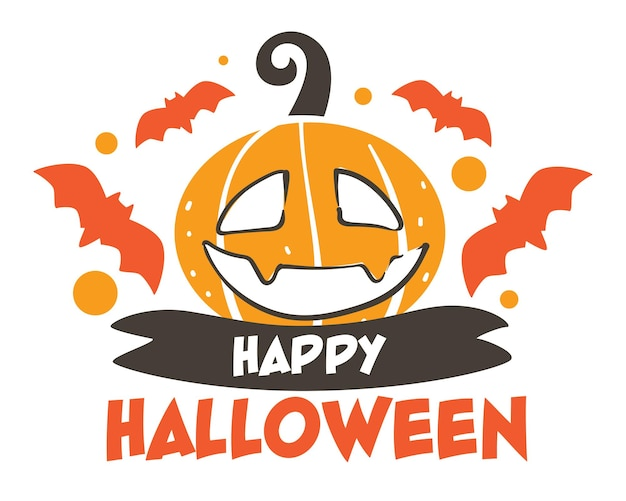 Halloween seasonal holiday celebration in usa, banner with flying bats and carved pumpkin face. ribbon and greeting text, card or flyer with jack o lantern. decorative sticker vector in flat