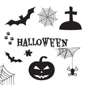Набор хэллоуина. черные силуэты. канун всех святых, канун всех святых. векторная иллюстрация