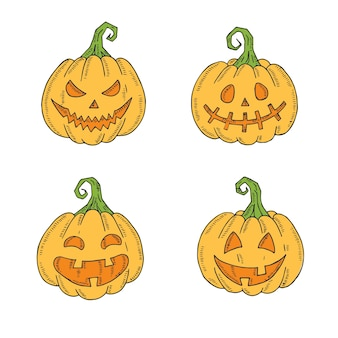 Halloween set of colored jack lamp in sketch style isolated on white