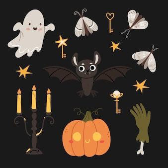 할로윈 세트 귀여운 유령 박쥐 고딕 촛대 좀비 손 나방 마술 열쇠 할로윈 호박