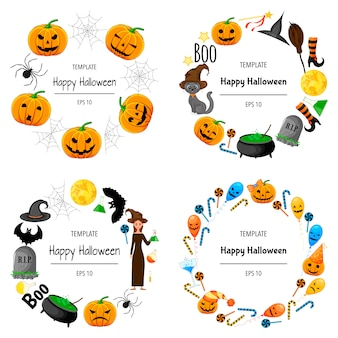 Halloween set of frames for your text with traditional attributes. cartoon style.  illustration.