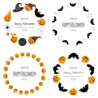 Halloween set of frames for your text with traditional attributes. cartoon style. vector illustration.