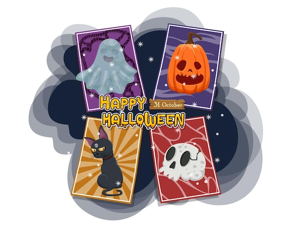 Halloween set greeting cards icon vecter. concept cartoon halloween elements. vector clipart illustration isolated on white background
