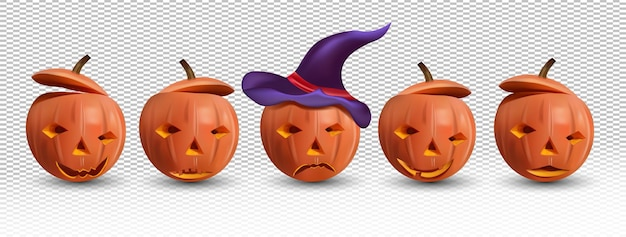 Halloween set of happy and evil pumpkin with a hat