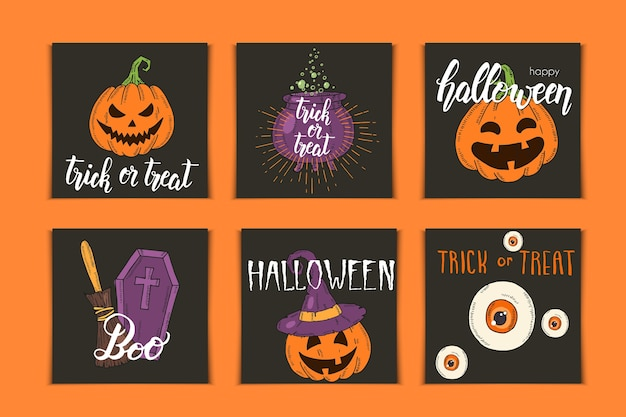 Halloween set of invitation cards with hand drawn icons and lettering. pumpkin jack, witch hat, broom, hat, sweets, candy roots, coffin, pot with potion in sketch style.