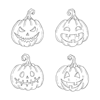 Halloween set of jack lamp in sketch style isolated on white.