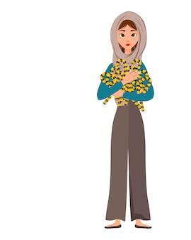 女性キャラクターのハロウィンセット。彼女の手に休日のキャンディーを持つ女の子。