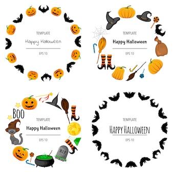 Хэллоуин набор рамок для вашего текста с традиционными атрибутами. мультяшный стиль. иллюстрации.