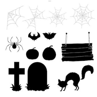 Хэллоуин набор силуэтов с традиционными атрибутами на белом фоне. мультяшный стиль. вектор.