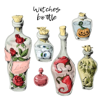 Halloween set of withered bottles
