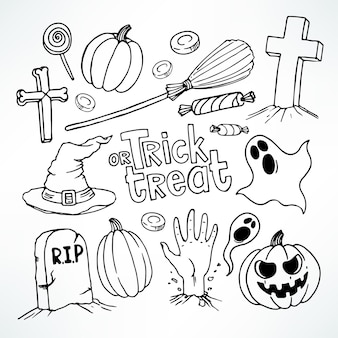 Halloween set. set with cute holiday symbols.