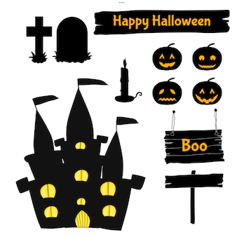 Halloween set of silhouettes with traditional attributes. cartoon style. vector.