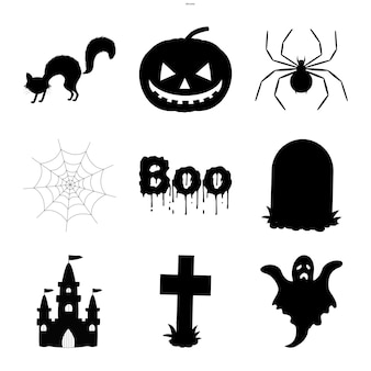 Halloween set of silhouettes with traditional attributes on white background. cartoon style. vector.