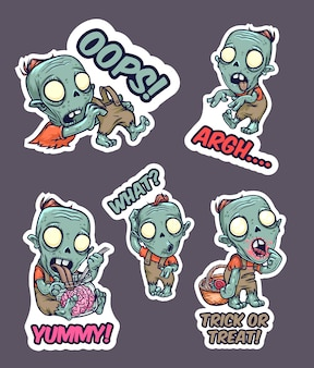 Halloween set of stickers with zombie. vector illustration