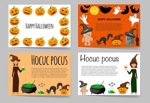 Halloween set of templates for your text with traditional attributes. cartoon style. vector illustration.
