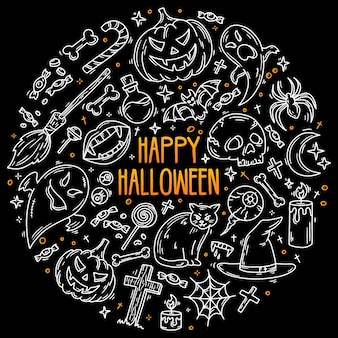 Halloween set of vector icons in doodle style horror magic symbols on black background Premium Vector