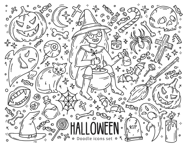 Halloween set of vector icons in doodle style horror magic symbols and witc