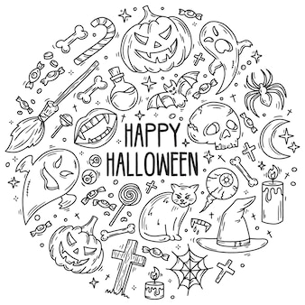 Halloween set of vector icons in doodle style horror magic symbols