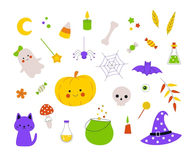 Halloween set with handdrawn pumpkin ghosts and sweets