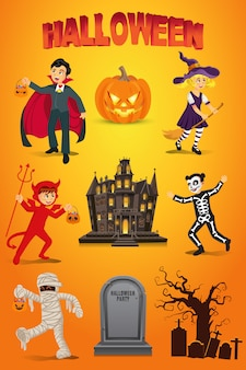 Halloween  set with kids dressed in halloween costume, pumpkin, gravestone and haunted house on orange background