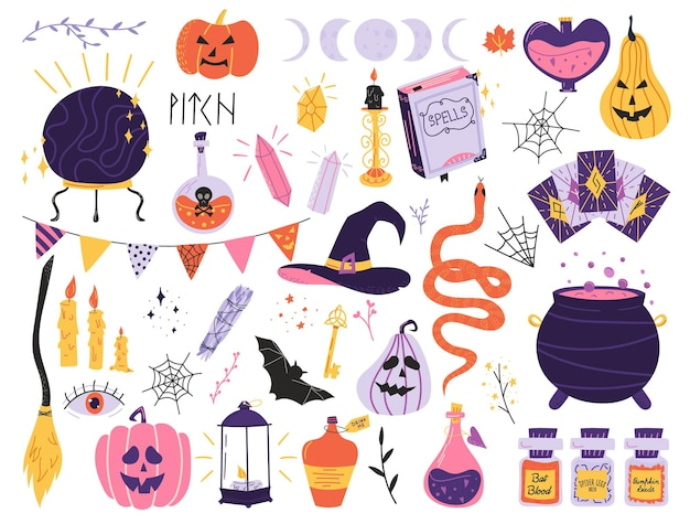 Halloween set with magic elements