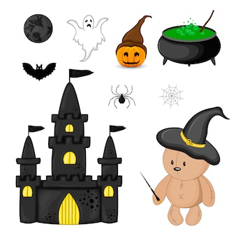 Halloween set with traditional attributes. cartoon style. vector.