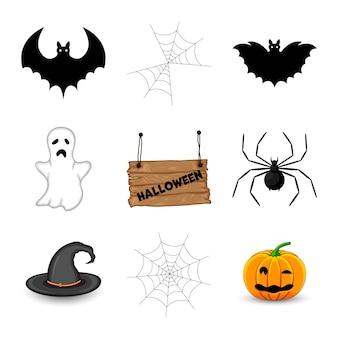 Хэллоуин с традиционными атрибутами на белом фоне. мультяшный стиль. вектор.