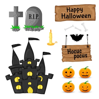 Halloween set with traditional attributes on white background. cartoon style. .