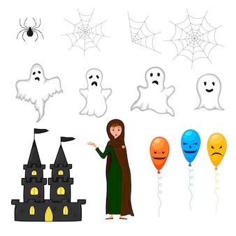 할로윈 마녀와 흰색 바탕에 무서운 물건으로 설정합니다. 만화 스타일입니다. 벡터.
