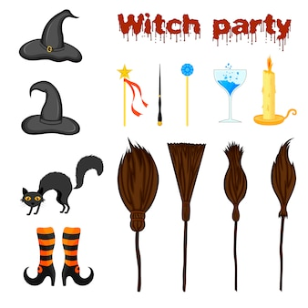 Halloween set with witch attributes. cartoon style. vector.