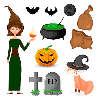 Halloween set with witch and her attributes. cartoon style. vector.