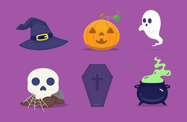 Halloween set with witch's stuff and ghost