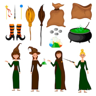 Halloween set with witches. cartoon style. vector.