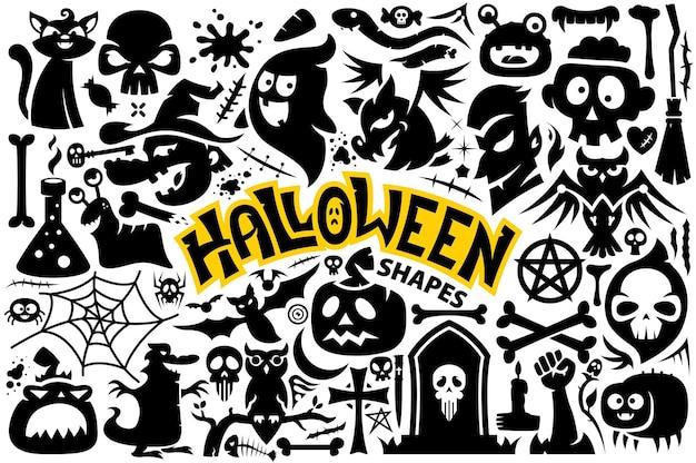 Коллекция фигур на хэллоуин, как призрачная летучая мышь, паук, ведьма, кости, крест-череп, тыква