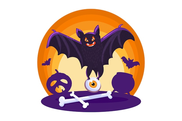 Halloween sign with scary bat, template for invitation, party decor, greeting card, web sticker design. cute horror halloween holiday element. vector illustration