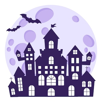 Halloween silhouette of a medieval haunted castle on the background of a full moon and bats.